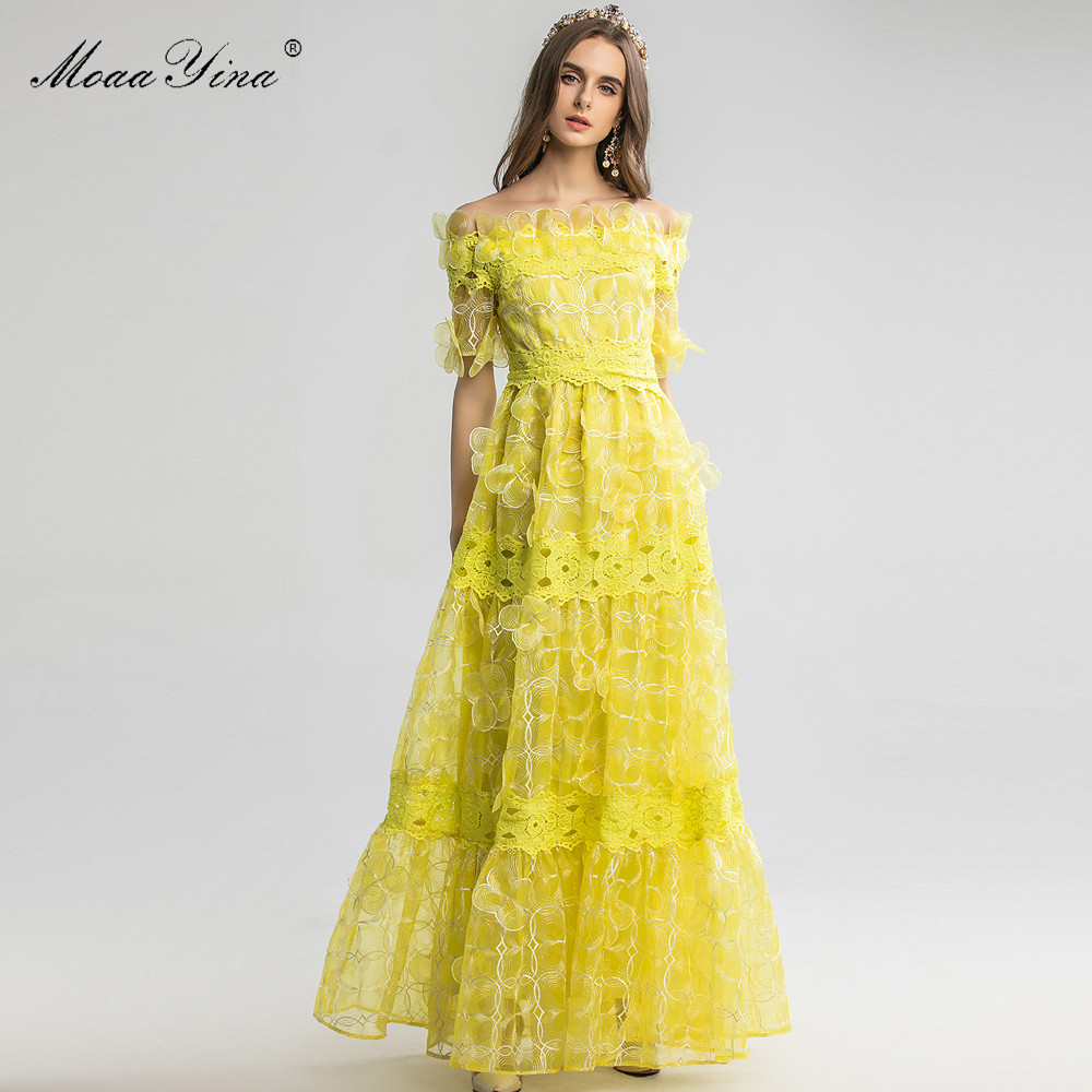 MoaaYina High Quality Fashion Designer dress Spring Summer Women's Dress  Mesh Applique Sexy Elegant Noble Prom Party Dresses