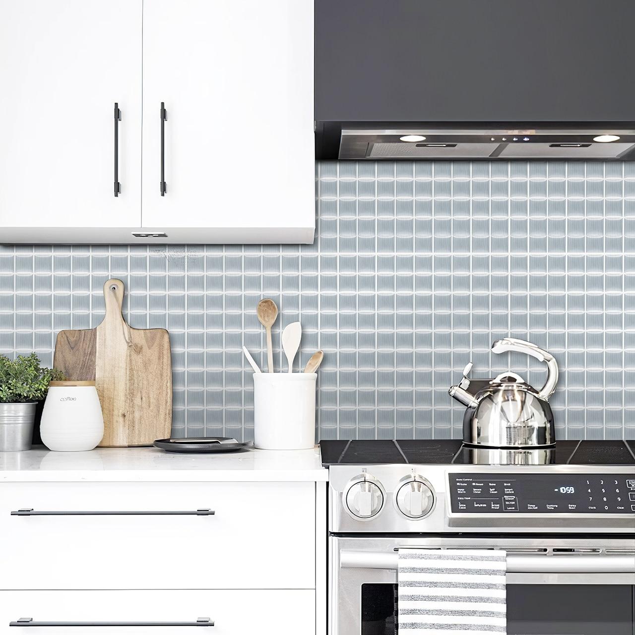 Large 3d Waterproof Self Adhesive Wallpaper Stickers Peel And Stick Backsplash Tiles Kitchen Bathroom Mosaic Vinyl Wallcoverings Wall Stickers Aliexpress