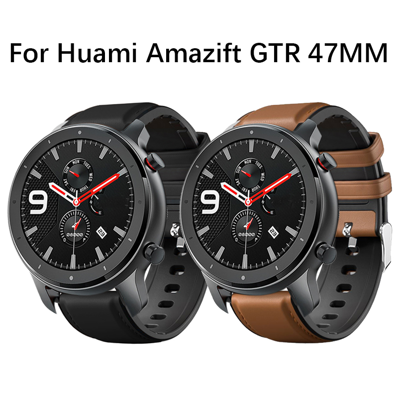 Leather + Silicone Watchband For Amazfit GTR 47mm Smart Watch Band For Xiaomi Huami Amazfit Pace/Stratos 2 2S Bracelet Strap