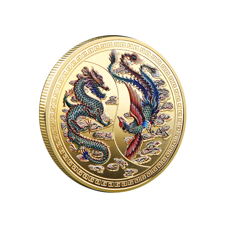High Quality Brand New Customized Prosperity Brought by the Dragon and the Phoenix Commemorative Coin Traditional
