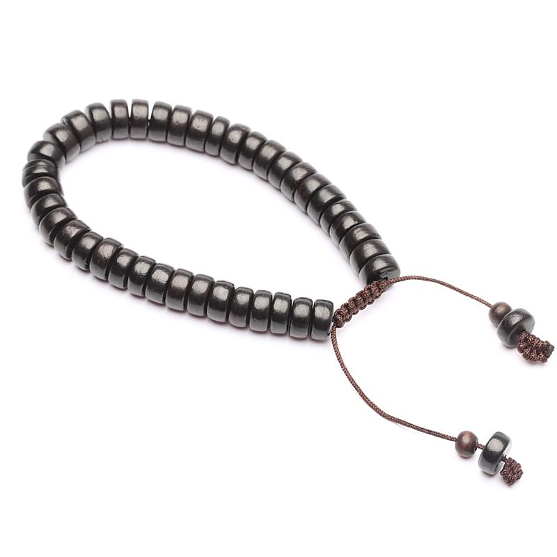 Natural Wood Beaded Bracelet Wooden Adjustable Jewelry Friendship Bracelet Gift