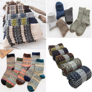 Image 4 - 5 Pairs/Lot Wool Socks Men Winter Warm Cashmere Comfortable Long Crew Casual Bohemian Sock Male Gift for Husband Father 4 Styles