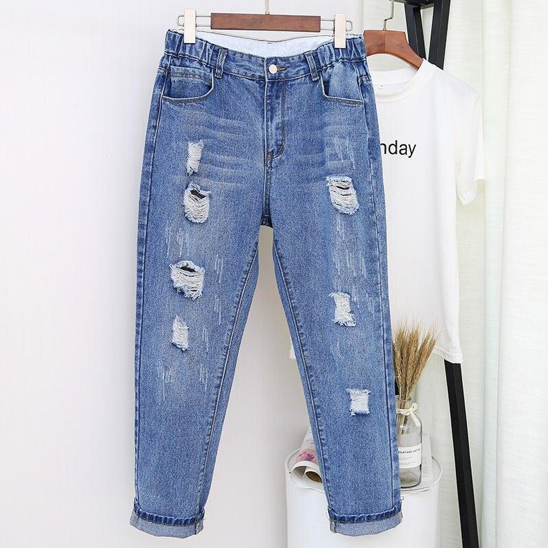 Ripped Jeans For Women Loose Harem Pants Denim Boyfriend Jeans For Women Streetwear Plus Size Vintage High Waist Mom Jeans Q2247