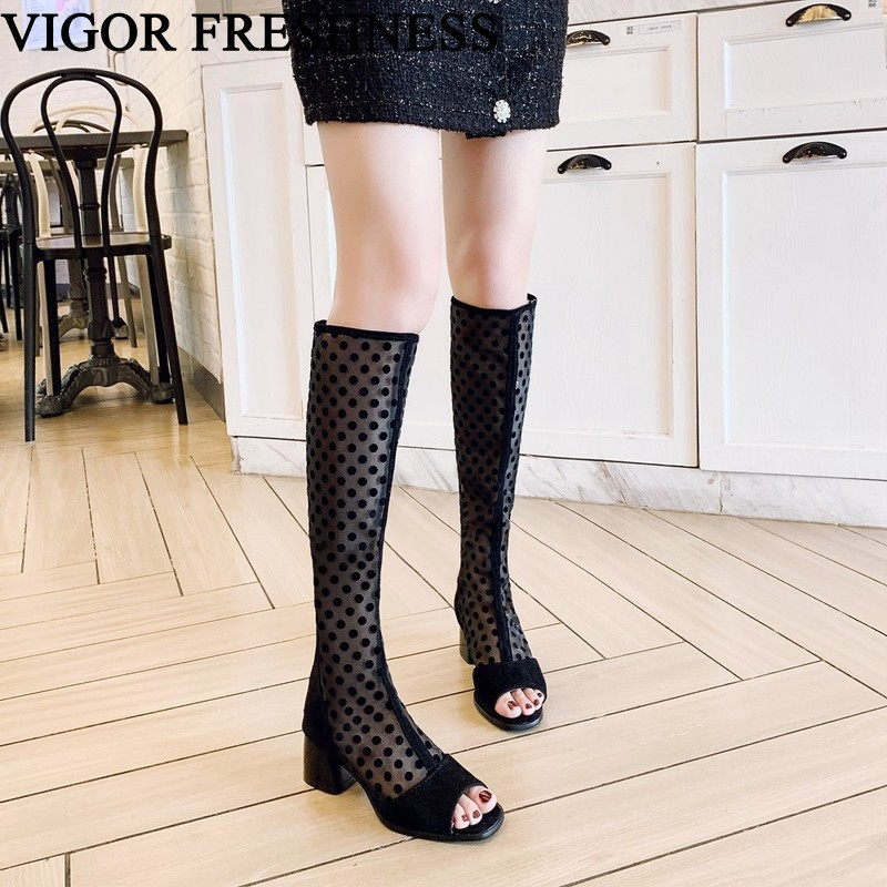 VIGOR FRESHNESS Boots Women Shoes Heels Summer Boots Knee High Woman Boots Rome Spring Shoes Peep Toes Sexy Dress Shoes MY273