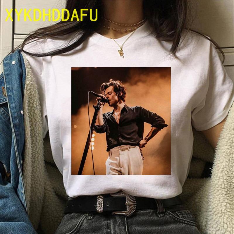 Camiseta de Harry Styles para mujer, a la moda ropa de calle, camisetas gráficas te superior Harajuku, camiseta informal de estética de los años 90 con cuello redondo
