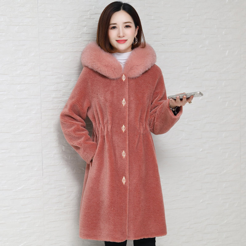 100% Wool Jacket Women's Real Fur Coat Hooded Autumn Winter Coat Women Fox Fur Collar Manteau Femme HK19261-1 KJ3539