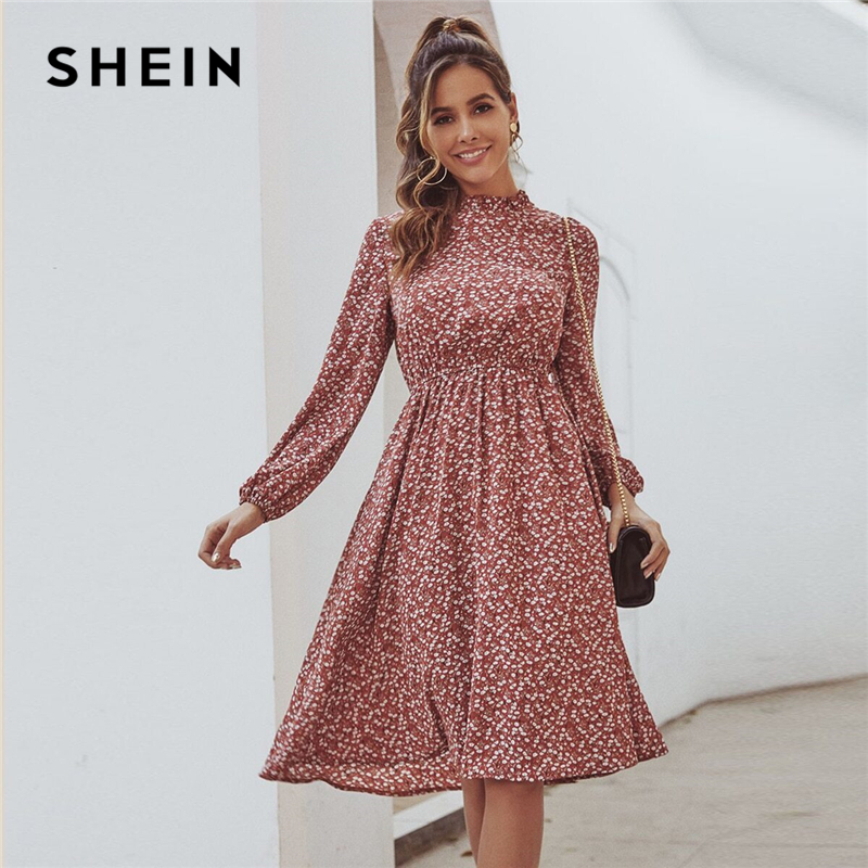 SHEIN Red Ditsy Floral Print Stand Collar Casual Dress Women 2020 Spring High Waist Bishop Sleeve A Line Frill Midi Dresses
