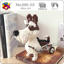 PZX 686-03 Old Schnauzer Dog Wheelchair Animal Pet 3D Model DIY Mini Diamond Blocks Bricks Building Toy for Children no Box