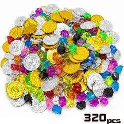 Дети пират Золотая монета драгоценный камень серии игрушки активность ничья реквизит детская игра реквизит Хэллоуин Рождественские подар...
