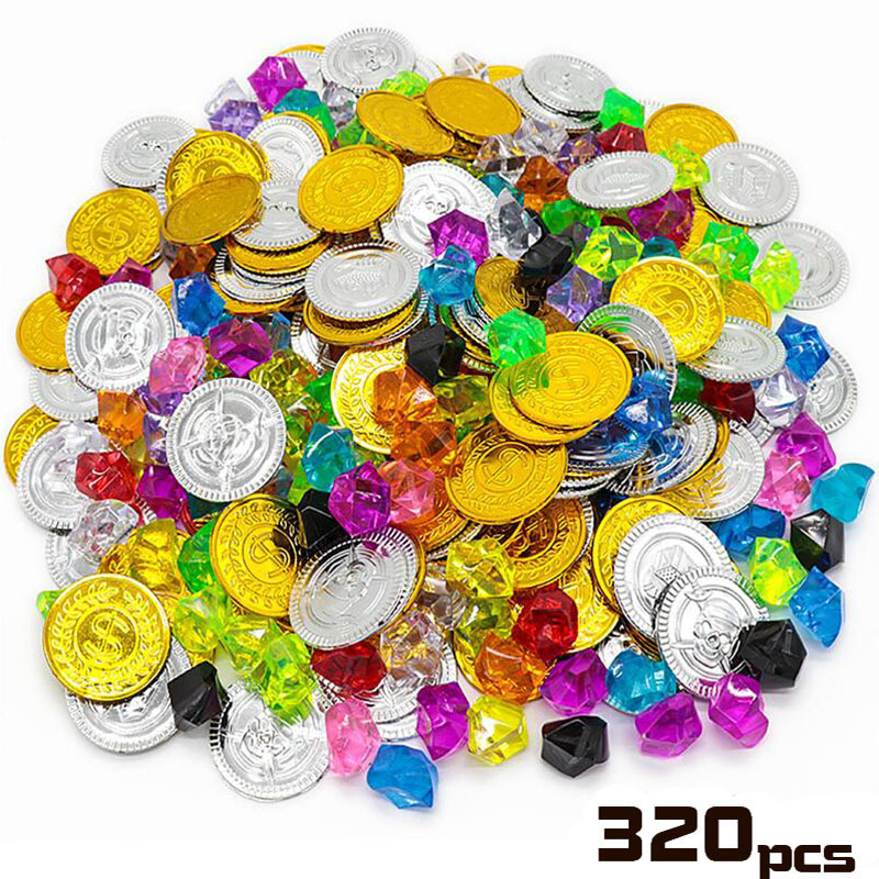 Children Pirate Gold Coin Gemstone Series Toys Activity Draw Props Children's Game Props Halloween Christmas Gifts