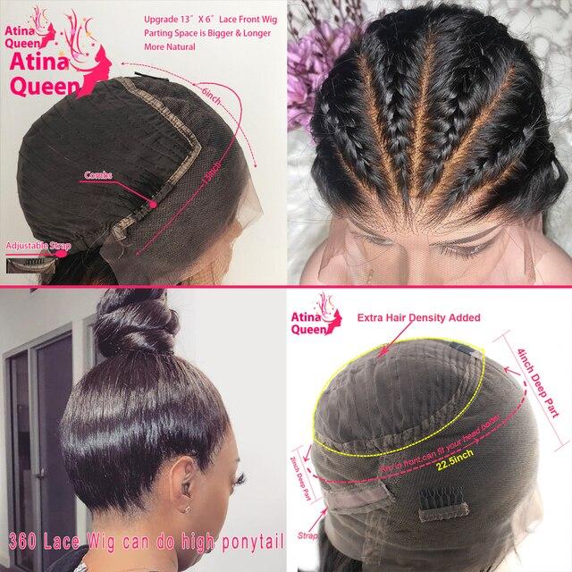 Cuero cabelludo Falso 13x6 pelucas de cabello humano Frontal de encaje prearrancado Invisible transparente HD 360 cierre Frontal peluca recta Remy Atina reina