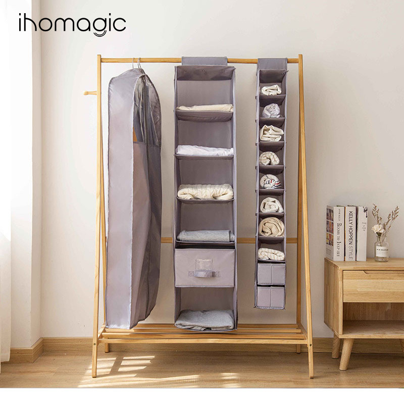 Japanese-style Home Bedroom Storage Set Multi-Layer Wardrobe Clothes Hanging Bag Simple Storage Wall-Mounted Storage Bag