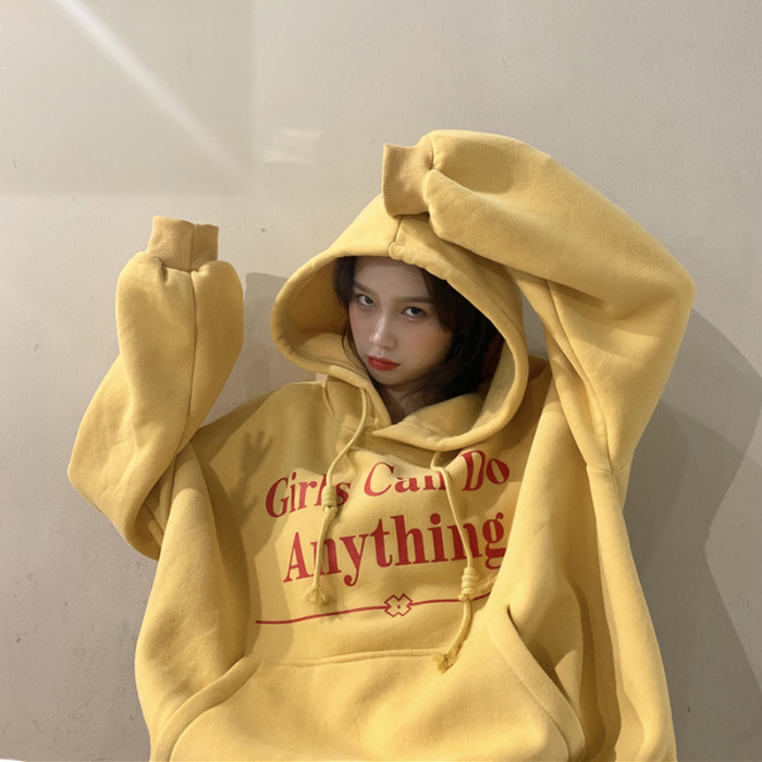 Autumn Yellow Gray Green Kpop Loose Fit Women Sweatshirt Long Sleeve Hooded Lettered Oversize Hoodie Free Shipping 2020 Tops