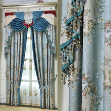 Simple European Style Curtains Luxury Jacquard Shade Curtains for Living Dining Room Bedroom
