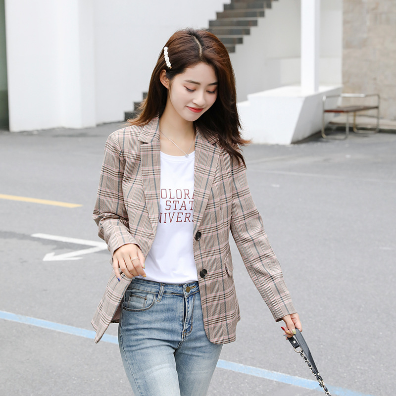 Fashion Temperament Plaid Suit Jacket Female 2019 Autumn High Quality Single-breasted Women's Blazer Slim Office Lady Suit