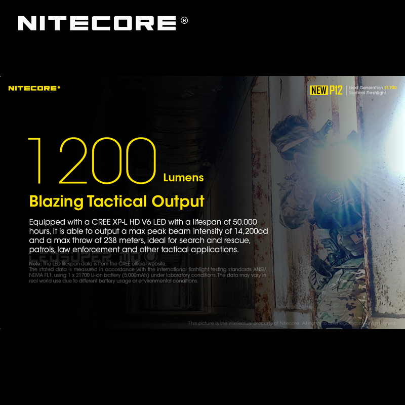 1200 Lumens Nitecore NEW P12 Next Generation 21700 Tactical Flashlight with NTH10 Holster - 3