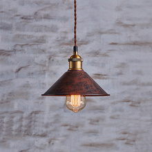 EL Rust Red Vintage Iron pendant lamp in the shape of funnel for bedroom study room dining room indoor pendant lights