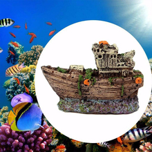 Aquarium Decoration Fish Tank Cave Decor Resin Fishing Shipwreck Boat Ornament Landscaping