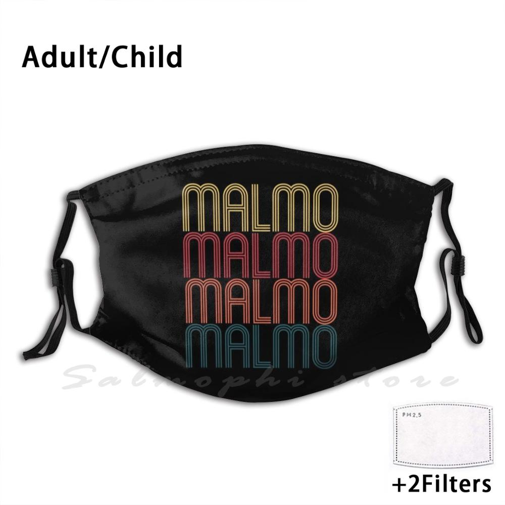 Retro <font><b>Malmo</b></font> Design Sweden Gift For Swede Vintage <font><b>Malmo</b></font> Print Washable Filter Anti Dust Mouth Mask <font><b>Malmo</b></font> Gift Sweden Gift Swede image