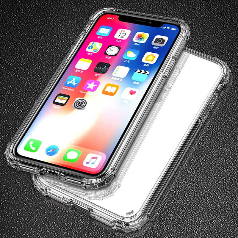 Funda de teléfono tpu transparente de protección completa con bolsa de aire a prueba de golpes para iPhone X XS XR XS Max 8 7 6 6S Plus funda trasera de protección