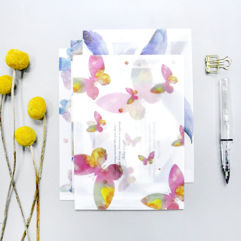 3 Pcs/pack Feather Sports Butterfly Ultrathin Paper Translucent Envelope Message Card Letter Stationary Storage Paper Gift