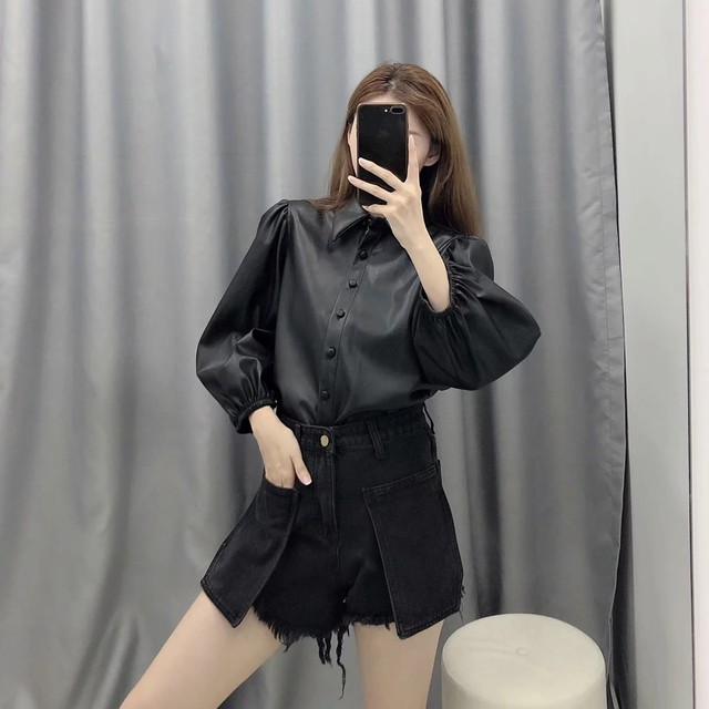 New design za PU faux leather Womens Blouses Shirts puff sleeve autumn Womens tops and blouses streetwear korean Camisa Blusas 16