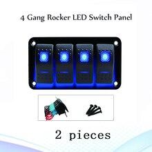 2pcs 4 갱 뜨거운 판매 LED 로커 스위치 패널 해양 보트 트럭 자동차 스위치 패널 라이터 듀얼 소켓 회로 차단기