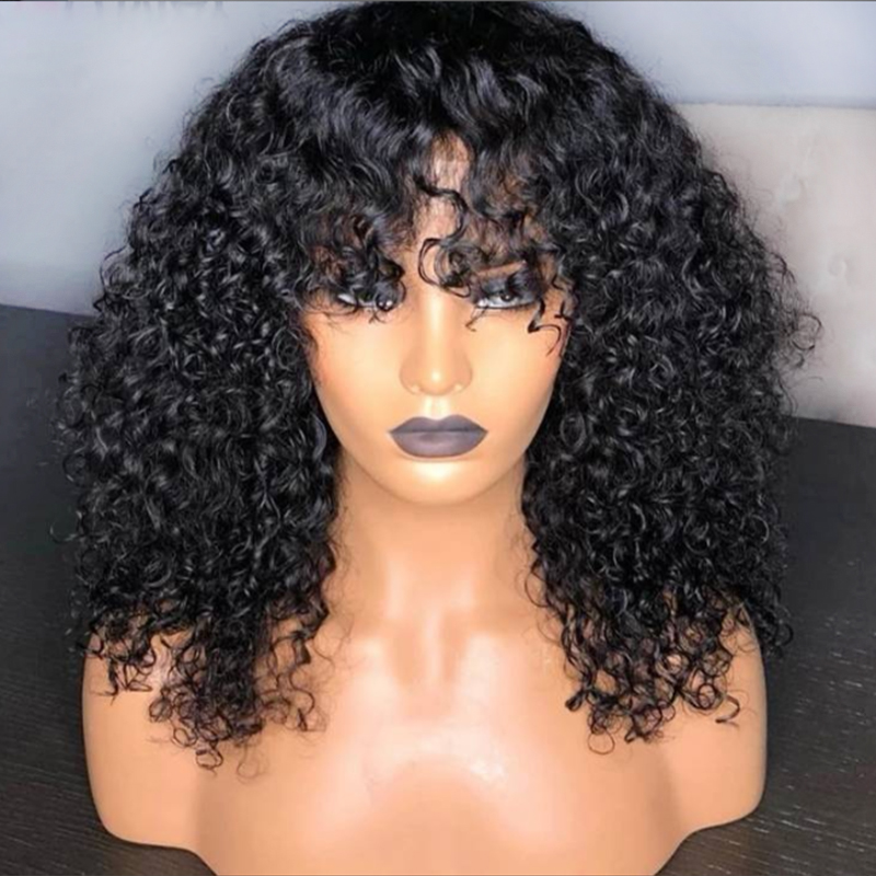 Curly Lace Front Human Hair Wigs For Black Women Brazilian Remy Hair Short Bob Wig With Bangs 13*4 Glueless Pre Plucked 8'' 18''-in Human Hair Lace Wigs from Hair Extensions & Wigs