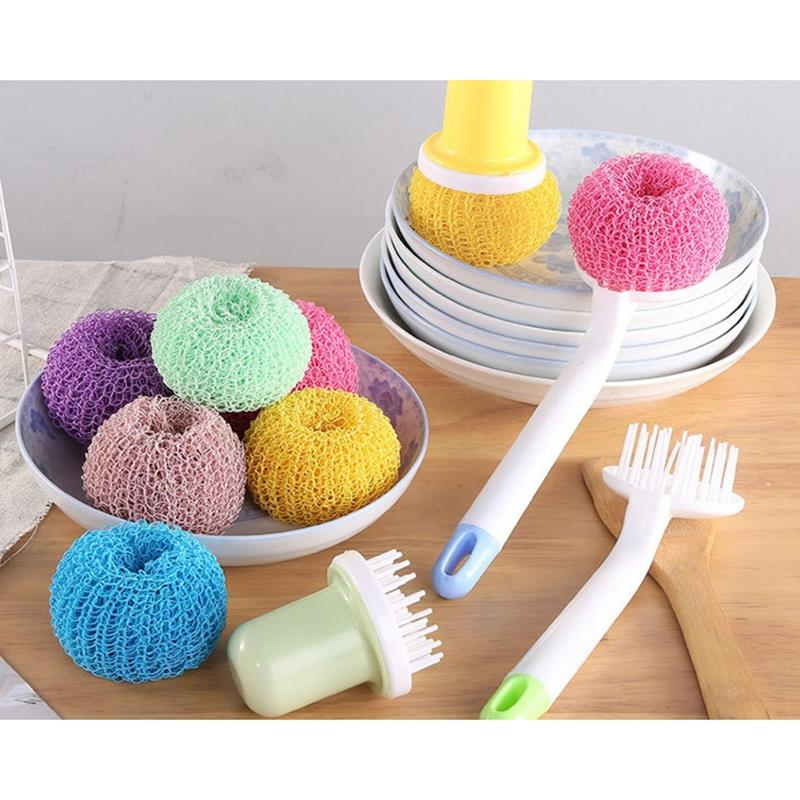 Pot Cleaning Brush Non-scratch Dish Scrubber Scrubbing Pad Scouring Pad Handle Home kitchen Cleaning Supplies Accessories