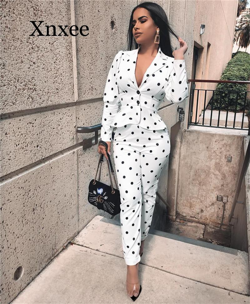 Women Notched Collar Polka Dot Ruffles Blazer Coat and High Waist Pant Suits Elegant Workwear Business Office Lady 2 Piece Set