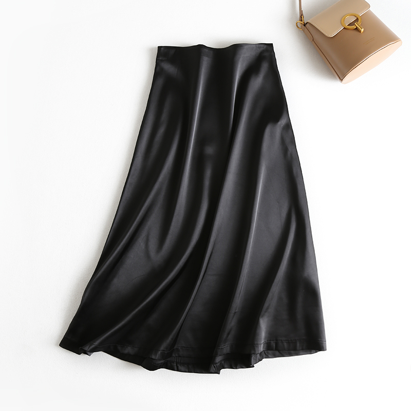 19 New Hot Women Luxury Mid-calf Long Soft Smooth Silk Satin Skirts Office Lady Hight Waist Glossy Silver Black Party Skirt 7