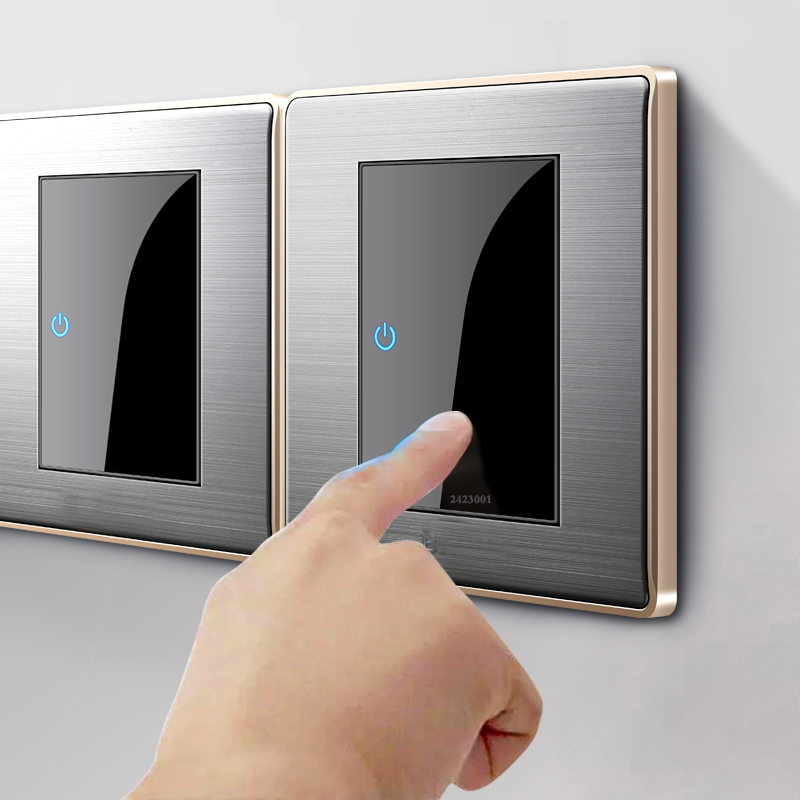 86 type1 2 3 4 gang 1 2 vias interruptor doméstico ue fr reino unido soquete interruptor de parede com led espelho de aço inoxidável redefinir interruptores 86*86mm