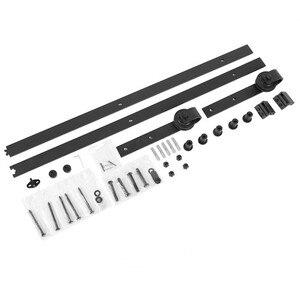 Image 2 - 183cm 200cm Set di binari per binari per fienile Kit di guide per porte scorrevoli in acciaio per porte scorrevoli in legno
