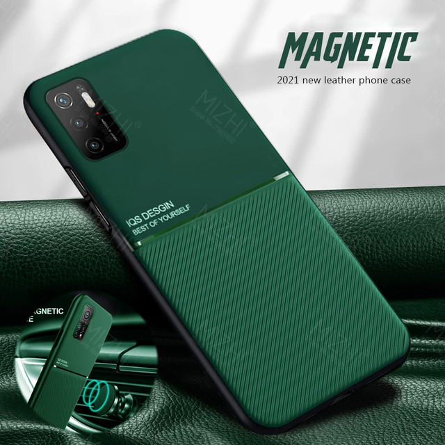 حافظة ممغنطة للسيارة لهواتف شاومي بوكو m3 برو 5G حافظة جلدية الملمس سيليكون غطاء مقاوم للصدمات لبوكوفون m3 متر 3 برو كوك
