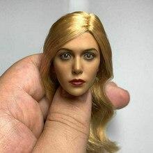 1/6 escala figura feminina elizabeth olsen versão loira bruxa cabeça escultura modelo para 12 polegada figura de ação