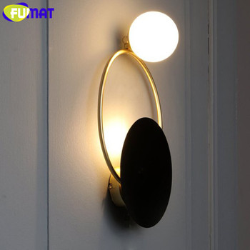 E11 Light Bulb | FUMAT Post-modern Wall Lamp Creative Art Deco LED Black Wall Lights For Bedroom Bedside Hotel Stairs Study Room Light Fixture