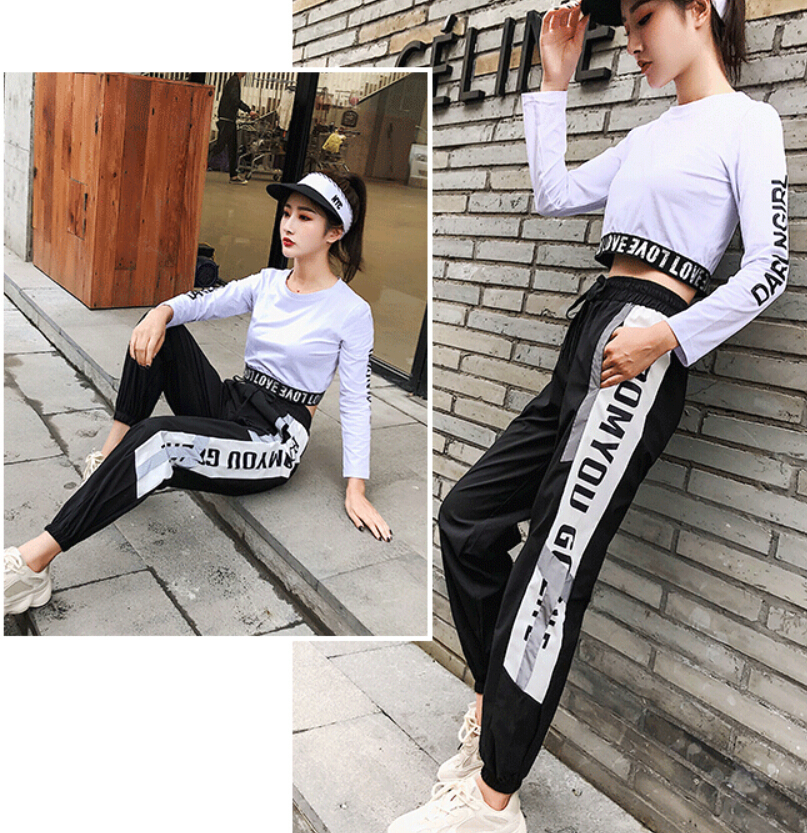 New Night Running Women Reflective Pants Crop Top Long Sleeve T Shirt Exercise Sportswear 2 Pcs Set Fitness Gym Clothing Outdoor in Yoga Sets from Sports Entertainment