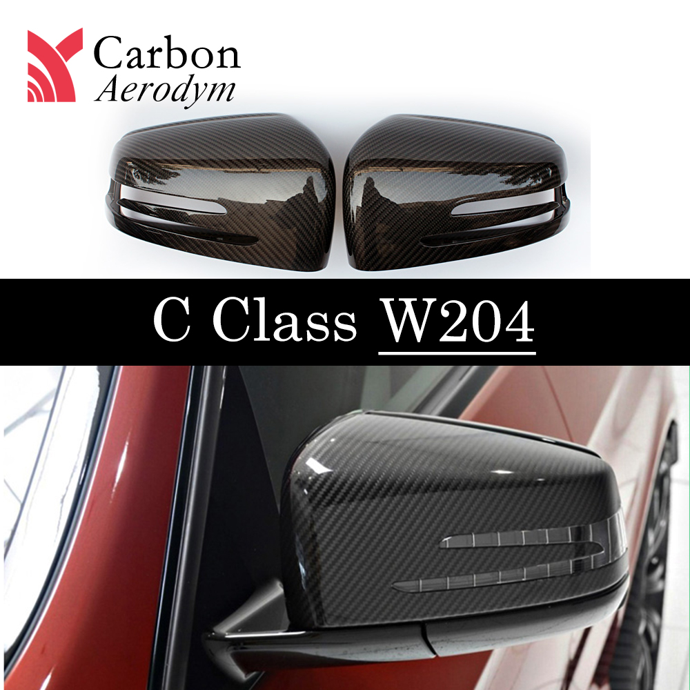 Carbon Fiber Mirror Cover For <font><b>Mercedes</b></font> A B C E S CLA CLS GLA GLK Class W176 W204 W207 <font><b>W212</b></font> W117 X156 Rearview Mirror Shell Caps image