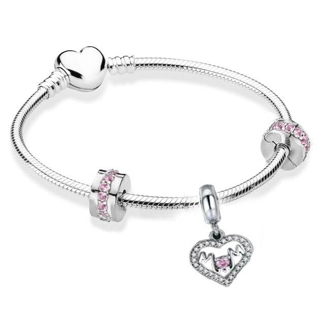 BRACE CO European Heart-shaped Pendant Charm Bracelet Fit Women's Jewellery Snake Chain Rose Gold Metal Fashion Fine Bracelets 2