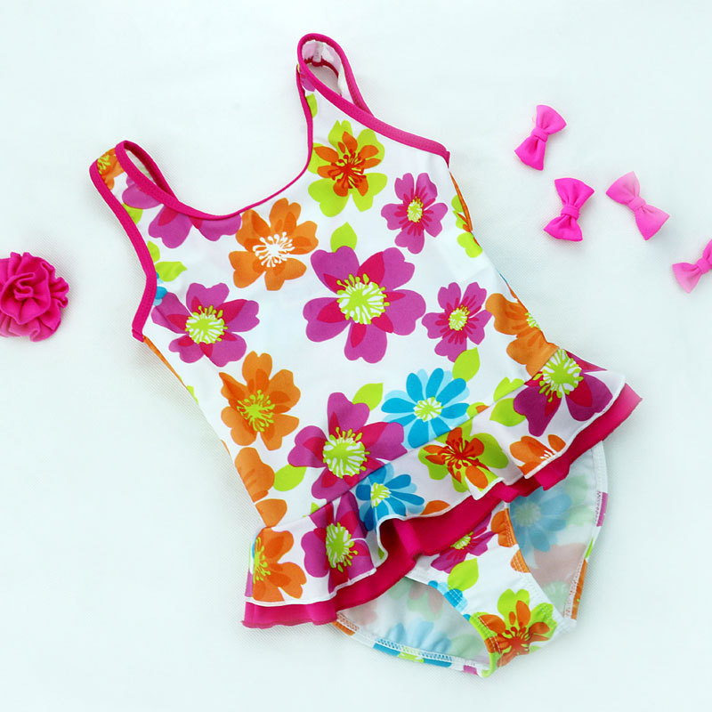 New Style KID'S Swimwear GIRL'S One-piece Swimming Suit Floral Children Hot Springs Bathing Suit Europe And America Swimwear Cur