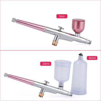 Top 0 3mm rose Mini compresseur d air Kit brosse Air peinture pistolet a rographe pour