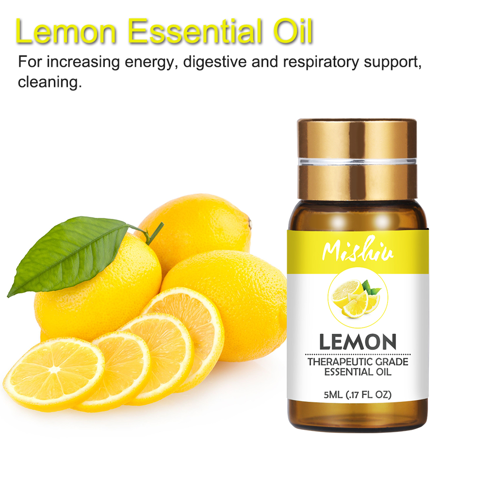 Mishiu 5ML Lemon 100% Natural Aromatherapy Massage Pure Essential Oil Eucalyptus Peppermint Relax Fragrance Aroma Oil Diffuser