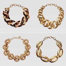 Girlgo, новинка ZA, металлическое ожерелье с тиснением, для женщин, панк, макси колье, ожерелье s, женский свадебный воротник, ювелирное изделие,, двойное, Eleven