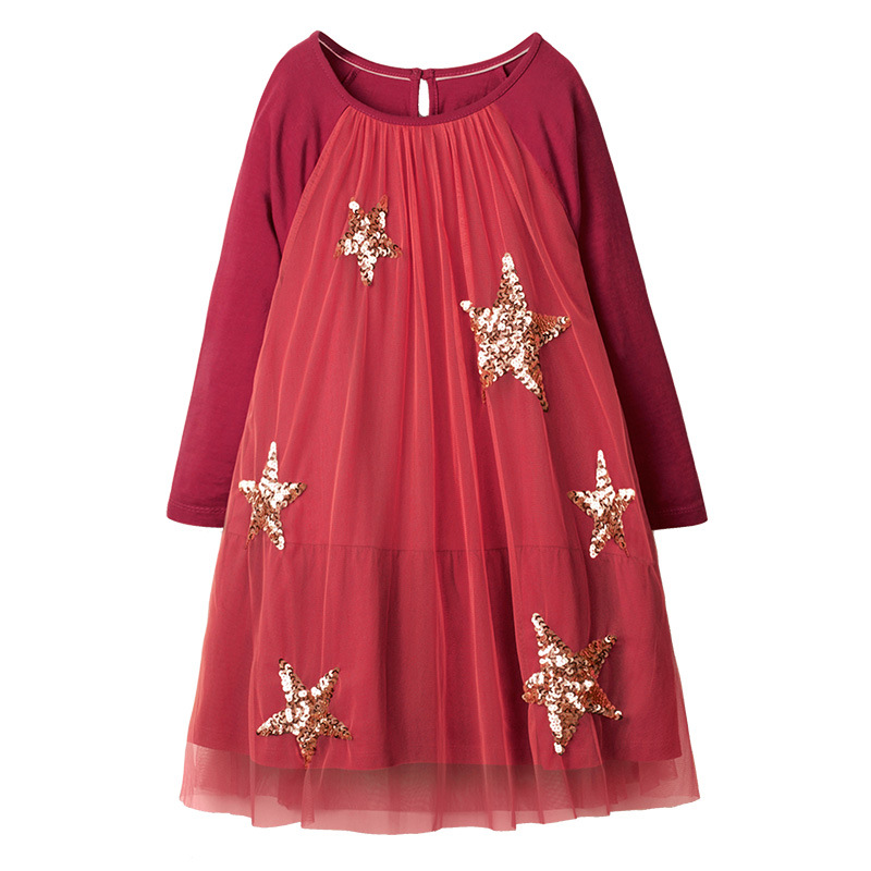 SAILEROAD Cloud Rainbow Print for Kids Dress Autumn Winter Princess Party Tutu Dress Girls Dress Sequins Children's Vestidos 5