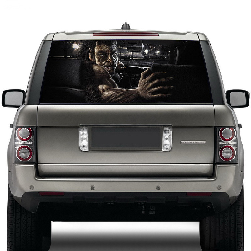 Image 4 - Surprise 3D Car Rear Windshield Sticker Waterproof One Way Vision Material OEM 130*70cm Unique ORC Wolf Thriller Sticker Scary-in Car Stickers from Automobiles & Motorcycles