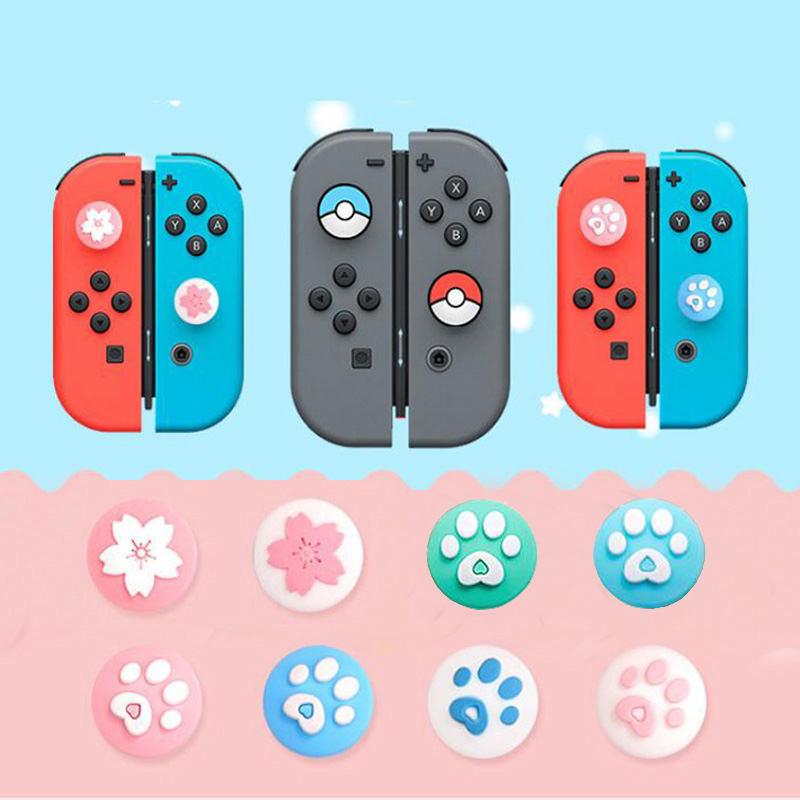 Cute Cat Paw Claw Sakura Thumb Stick Grip Cap Joystick Cover For Nintend Switch Lite Joy-Con Controller Gamepad Thumbstick Case