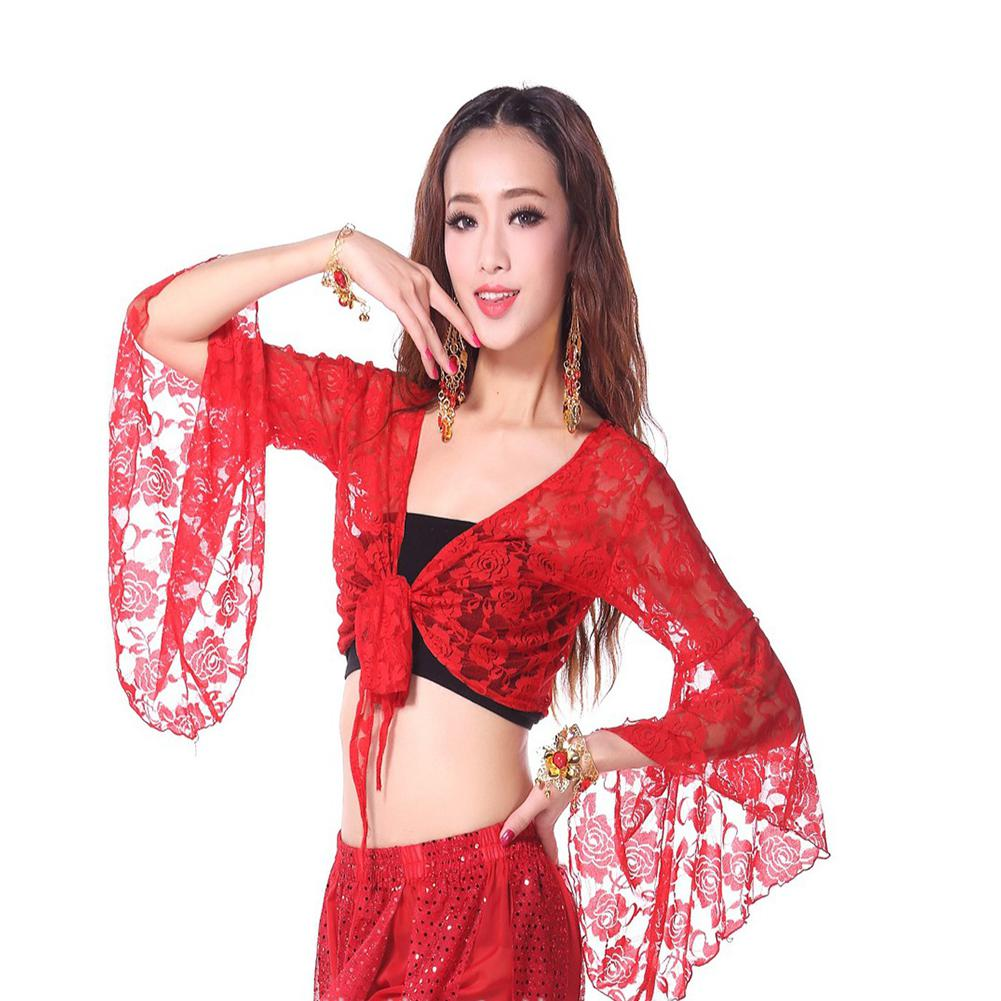 ZACOO Woman Tops Solid Color Dance Clothes Lace Long Sleeves Belly Dance Tops Flared Sleeves Shawl Female Dance Clothes