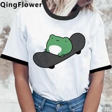 Skateboard Frog Cute Graphic Tee Women T-shirt Funny Cartoon Aesthetic T Shirt Harajuku Casual Summer Tshirt Graphic Tops Female