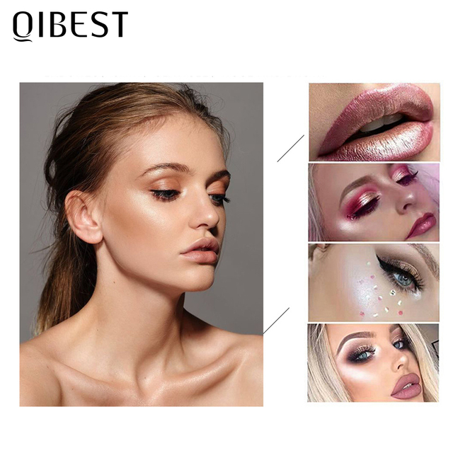QIBEST Highlighter Bronzer Palette Face Makeup Contour Glow Long Lasting Shimmer Illuminator Highlighter Powder Shining Cosmetic 4