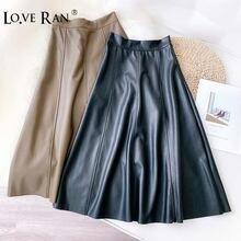 Женские длинные юбки из искусственной кожи черные трапециевидной
